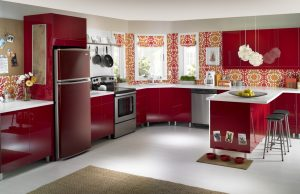 Diseño de cocina en color rojo