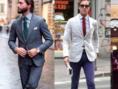 Hombres usando ropa que sigue el código de vestimenta navideño.