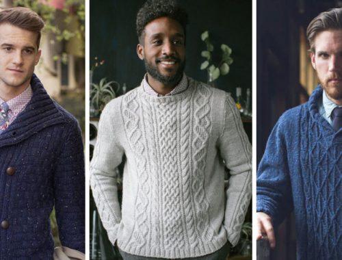 Hombres usando sueter de vestir