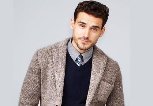 Hombre con sueter de vestir y camisa