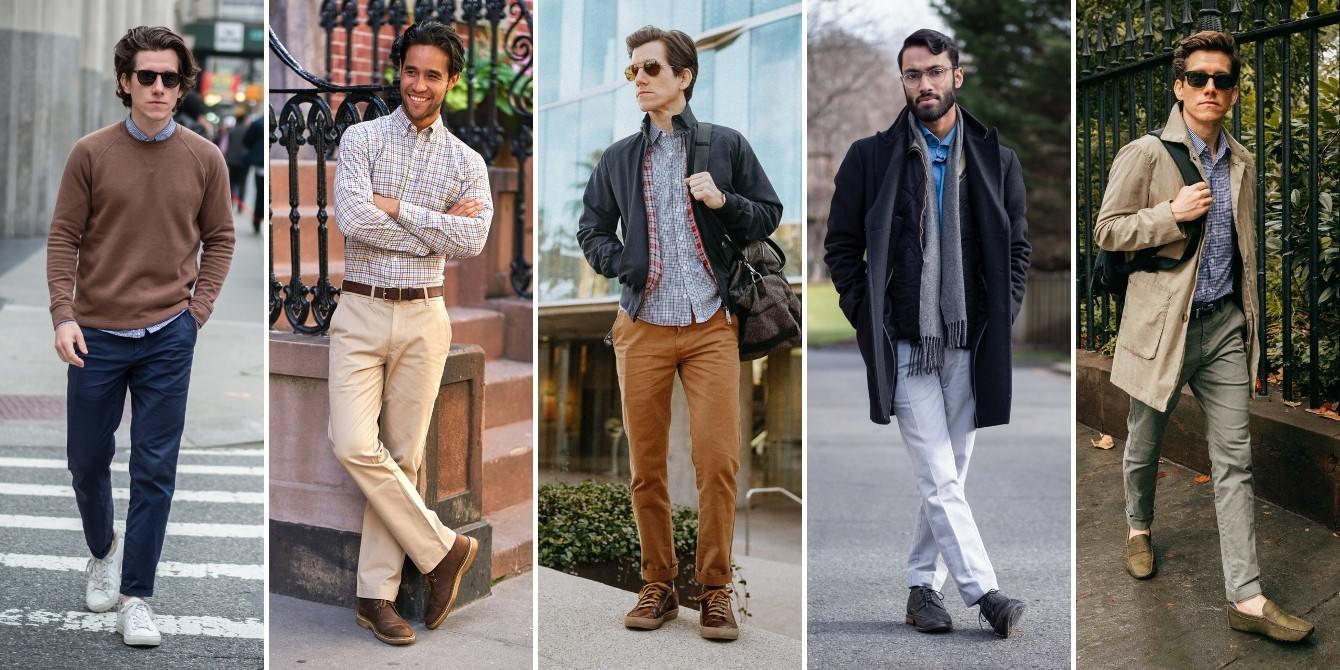 Hombres con pantalones caquis
