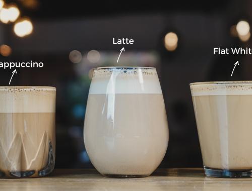 Café latte, capuchino y flat white